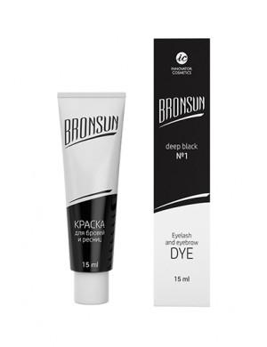 Краска для ресниц и бровей BRONSUN #1 черный 15мл